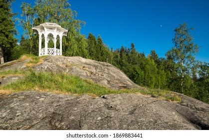 Gazebo for kisses in the Vakkosalmi park in Sortavala, a town in the Republic of Karelia, Russia