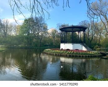 Gazebo in the middle of a pond in Vondelpark Amsterdam