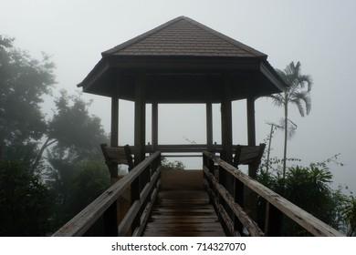 Gazebo in mountaintop clouds, early morning