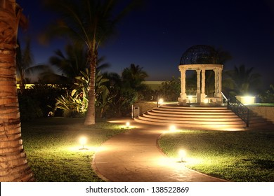 Gazebo at Night with Glowing Lights