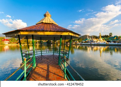 Gazebo on Nong Jong Kham pond in Mae Hong Son province, Northern Thailand