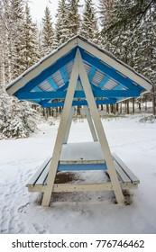 Gazebo in snow at winter