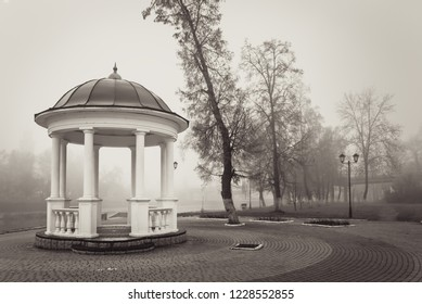 Gazebo in thick fog in Orel, Russia in black and white