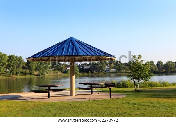 Gazebo umbrella by the lake