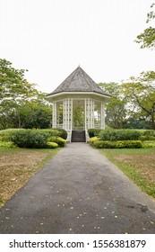 Gazebo or white bandstand at Singapore Botanic Gardens