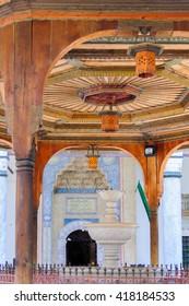 Gazi Husrev-beg mosque entrance and water fountain in Sarajevo, Bosnia and Herzegovina