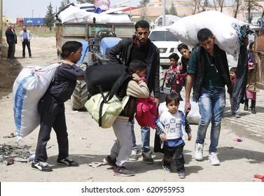 GAZIANTEP, TURKEY, 11 APRIL 2017 Syrian refugees returning to safe areas as Jarabulus, Al-Bab, Azaz of Syria again from Karkamis border gate in Gaziantep.