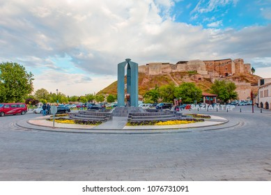 GAZIANTEP, TURKEY - APRIL 20, 2018: Gaziantep Castle, square and city sign