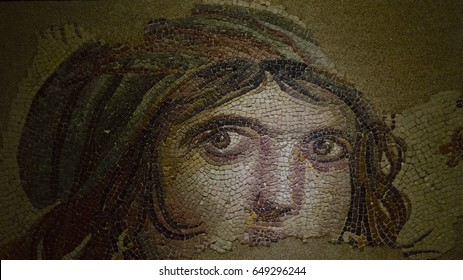 GAZIANTEP, TURKEY - JANUARY 13, 2017: Roman mosaic of Gypsy Girl from the ancient site of Zeugma, in the Archaeological Museum of Gaziantep, in Gaziantep, Turkey