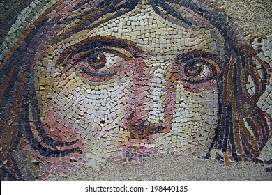 GAZIANTEP, TURKEY - JUNE 28: Gypsy Girl, a Byzantine mosaic in the interior of Gaziantep Museum, on June 28 2009 in Gaziantep