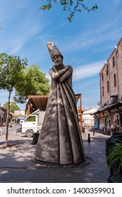 GAZIANTEP, TURKEY - MAY 11, 2019: Mevlevi sculpture in the street of sahinbey district of gaziantep old city.Sculpture is locating near by Mevlevi lodge.