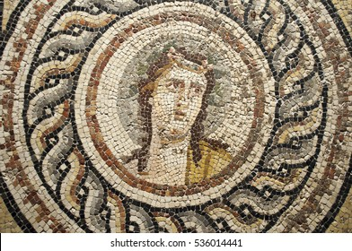 GAZIANTEP TURKEY - MAY 12, 2012 Details of mosaics from Zeugma Museum.