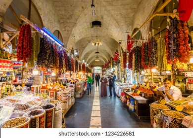Gaziantep, Turkey - November 15, 2018 : People are shopping at Zincirli Bedesten in Gaziantep City.