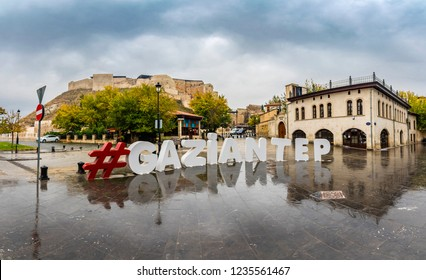 Gaziantep, Turkey - November 16, 2018 : Logo of Gaziantep and Castle at background view in Gaziantep City of Turkey