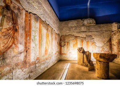 Gaziantep, Turkey - November 16, 2018 : People are visiting Zeugma Mosaic Museum in Gaziantep City of Turkey. ( HDR version )