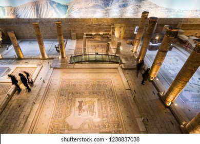 Gaziantep, Turkey - November 16, 2018 : People are visiting Zeugma Mosaic Museum in Gaziantep City of Turkey