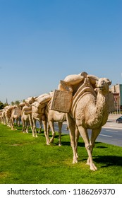 GAZIANTEP, TURKEY - SEPTEMBER 25, 2012: Statues of a caravan group outside the Zeugma Mosaic Museum Gaziantep, Turkey