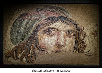 GAZIANTEP, TURKEY - SEPTEMBER 25, 2012: Gypsy Girl Byzantine mosaic in the Zeugma Mosaic Museum in Gaziantep Turkey.
