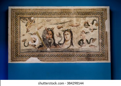 GAZIANTEP, TURKEY - SEPTEMBER 25, 2012: Oceanus and Tethys  mosaic in the Zeugma Mosaic Museum in Gaziantep Turkey.