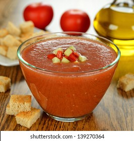 gazpacho soup on a brown table
