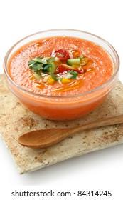 gazpacho , spanish tomato based cold vegetable soup