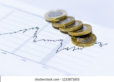 GBP British Currency Pound Coins spread out and stacked on top of 2d graph data sheet showing exponential growth over time