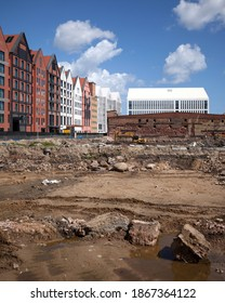 Gdank, Poland, May 24. Old and new. Olowianka island in Gdansk