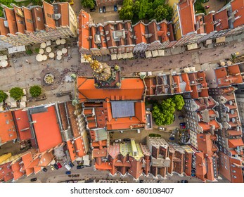 Gdansk from the air. Landscape of the old town from the bird's eye view. View of the Long streets, the Long Market and the historical museum.