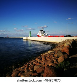 GDANSK NEW PORT, POLAND - SEPTEMBER 18, 2016: Ship output of the port of Gdansk.