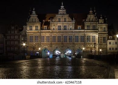Gdansk old city at night