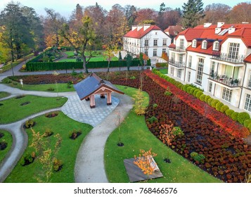 GDANSK, POLAND - 05 NOVEMBER 2017: Gdansk city park architecture in autumn scenery - aerial view, in Gdansk Oliwa, Poland. China garden - the new part of park finished in year 2016.