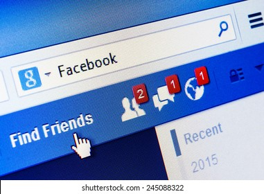 GDANSK, POLAND - 18 JANUARY 2015. Facebook.com homepage on the screen. Facebook is an online social networking and microblogging service