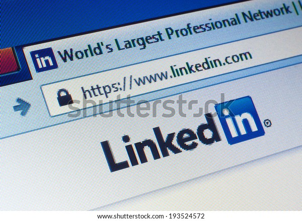 GDANSK, POLAND - 18 MAY 2014. Linkedin.com homepage on the screen. LinkedIn is a business-oriented social networking service