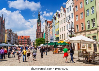 GDANSK, POLAND - 20 MAY: Architecture of the Long Lane in Gdansk on 20 May 2014. Baroque architecture of the Long Lane is one of the most notable tourist attractions of the city.