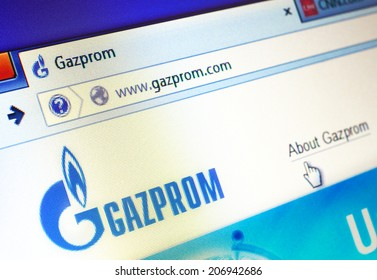 GDANSK, POLAND - 24 JULY 2014. Gazprom.com homepage on the screen. Gazprom is the largest extractor of natural gas in the world