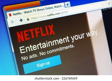 GDANSK, POLAND - 28 OCTOBER 2014. Netflix.com homepage on the computer screen. Netflix is a provider on-demand streaming media