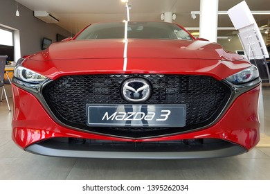Gdansk, Poland - April 10, 2019: Brand new 2019 model of Mazda 3 in the car showroom of Gdansk, Poland. Mazda 3 is a popular compact car manufactured in Japan by the Mazda Motor Corporation.