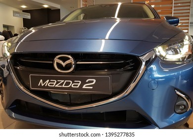 Gdansk, Poland - April 10, 2019: Brand new Mazda 2 in the car showroom of Gdansk, Poland. Mazda 2 is a popular car manufactured in Japan by the Mazda Motor Corporation.