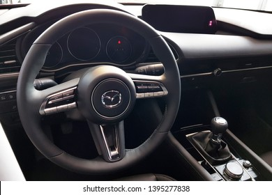 Gdansk, Poland - April 10, 2019: Interior of new 2019 model of Mazda 3 in the car showroom of Gdansk, Poland. Mazda 3 is a popular compact car manufactured in Japan by the Mazda Motor Corporation.