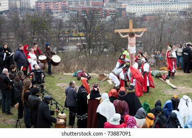 GDANSK, POLAND - APRIL 2 : Presentation Mystery of the Passion of Jesus Christ, played by actors with the participation of the spectators on April 2, 2010 in Gdansk, Poland.