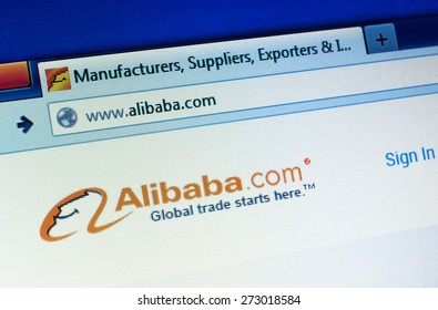 GDANSK, POLAND - APRIL 25, 2015. Alibaba homepage on the computer screen. Alibaba is a Chinese e-commerce company