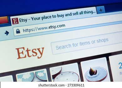 GDANSK, POLAND - APRIL 25, 2015. Etsy homepage on the computer screen. Etsy is a peer-to-peer e-commerce website focused on handmade or vintage items