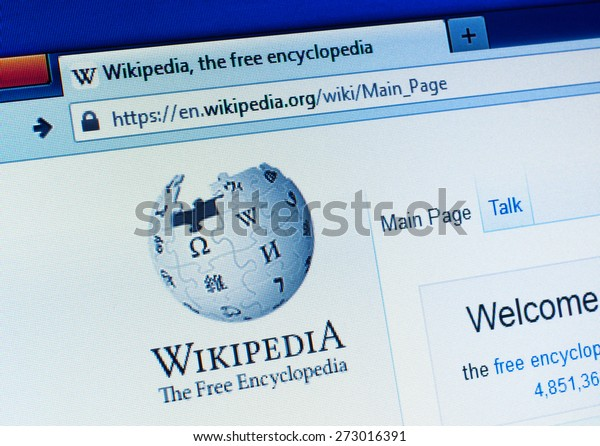 GDANSK, POLAND - APRIL 25, 2015. Wikipedia homepage on the computer screen. Wikipedia is a free-access, free content Internet encyclopedia, supported and hosted by the non-profit Wikimedia Foundation