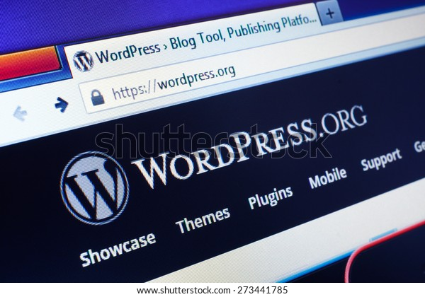 GDANSK, POLAND - APRIL 25, 2015. Wordpress homepage on the computer screen. WordPress is a free and open-source blogging tool and a content management system (CMS) based on PHP and MySQL