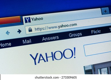 GDANSK, POLAND - APRIL 25, 2015.Yahoo homepage on the computer screen. Yahoo is an American multinational Internet corporation