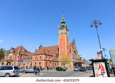 GDANSK, POLAND - APRIL 30: Gdansk train station on April 30, 2016 in Gdansk, Poland.