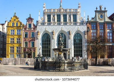 Gdansk, Poland - April 8, 2018: The fountain of Neptune and Court of Artus in Gdansk