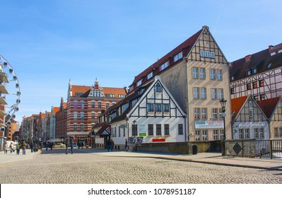 Gdansk, Poland - April 8, 2018: Architecture of Old Town in Gdansk