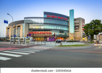 GDANSK, POLAND - AUGUST 11, 2017: Galeria Baltycka in Gdansk - Wrzeszcz at sunset, Poland. Galeria Baltycka is the biggest Mall in Gdansk with more than 200 stores.
