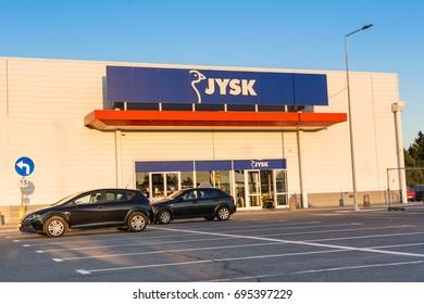 GDANSK, POLAND, AUGUST 13, 2017: Jysk store in Gdansk city.  Jysk is a Danish retail chain selling household goods.